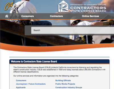 Contractors License Board Online