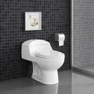 Glossy white Swiss Madison Dual Flush Toilets