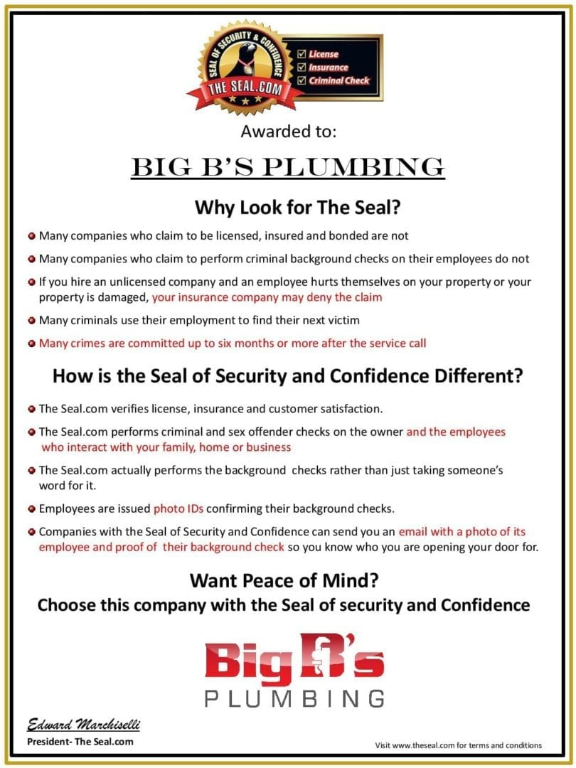 Seal of Approval Certificate Big B s Plumbing-page-001