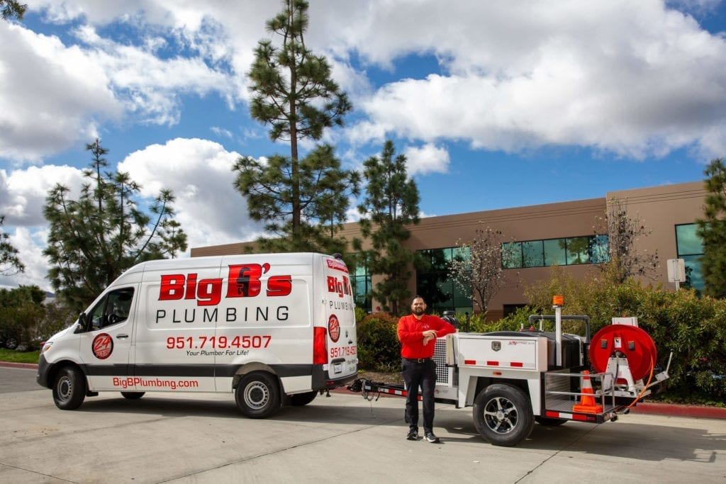 Big B's Van With Hydro Jetting Machine. Your #1 Drain Cleaning Service Corona CA.